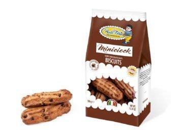 miniciock biscotti con olio di girasole alto oleico e cocce di cioccolato fondente